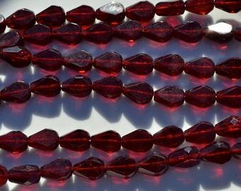 Dark Garnet Red Fire Polish Teardrop Beads   10