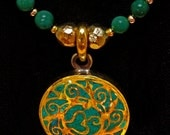 Delicate OM Pendant  and Turquoise