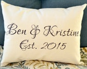 Couples gift, valentines, couples names, personalized pillow, wedding gift, 2nd anniversary, cotton anniversary, engagement - ben & kris