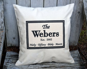 Personalized pillow, Valentine gift idea, Last name pillow personalized, custom pillow , housewarming, cotton anniversary, 2nd