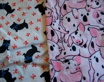 pink pigs and terriers  cotton fabric scraps