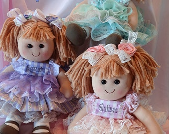 Valentine's Personalized Baby Rag Doll  dressed in vintage lace,flower girl gift, baby new born shower gift, First Baby doll