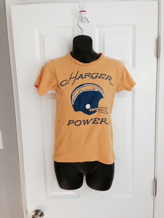 Vintage 1970s San Diego Chargers T Shirt Champion Blue Bar