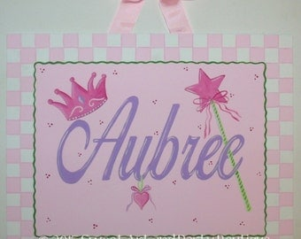 Princess, name sign, custom, personalized, canvas wall art, baby nursery decor, hand painted, crown, wand, pink lavender, Princess decor