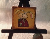 "Hand Painted Mini 2"" x 2"" Painting with Easel - Prim Bunny"