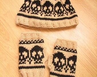 FREE SHIPPING Handmade Knitted Gloves Beret-Hat/Scull Design Fingerless Gloves Hat Set/Gift for her/Skull Beret Gloves Set/Gift/OOAK