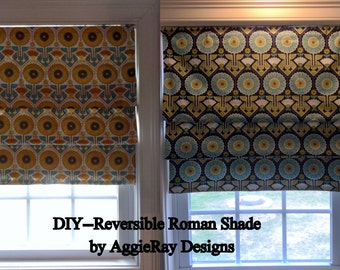 INSTANT DOWNLOAD pdf Sewing Pattern DIY Reversible Roman Shade Window Treatment Accessory