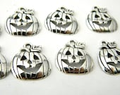 Pumpkin Charms Set of 10 Silver Tone 18x16mm Halloween Charms