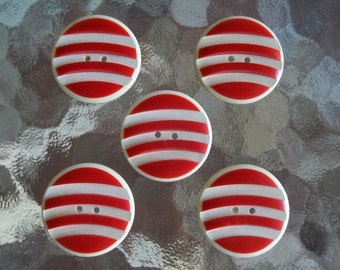 "Set 5 Vintage True ART DECO Lg 1 3/8"" Celluloid Buttons...Raised Red Curved Bands on Off-White...Very SPECIAL!"