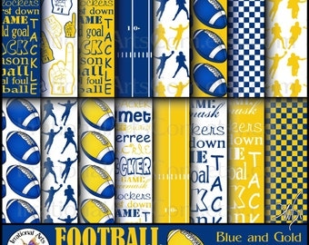 Blue and Gold Football Digital Scrapbooking Papers - 18 jpg files 300dpi {Instant Download}