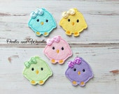 Chick  Felt Appliques, Easter Chick Embroidered Appliques, Easter Appliques, Set of 5 Colorful Chick Appliques, Baby Chick Felties