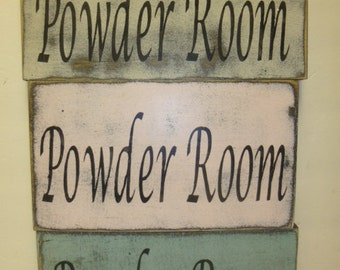 POWDER ROOM SIGN / Shabby Cottage Chic Powder Room Sign / Bathroom Sign / sign for powder room /hand painted wood wall sign / shabby cottage