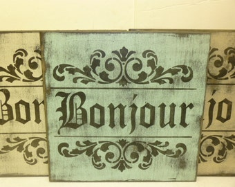 FRENCH BONJOUR SIGN / French greeting sign / French Good Morning / hand painted sign / French wall sign / Paris apartment decor / French dec