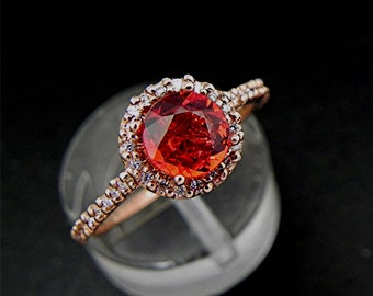 Orange Red Sapphire   .96 Carats   14K Rose gold Diamond Halo engagement ring set with 6mm Round Natural  1163 MMM