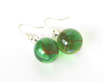 Green white and red glass marble dangle earrings