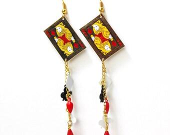 Queen of Diamonds card gambling lucky charm dangle earrings