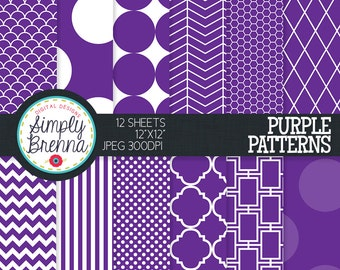 Dark Purple Digital Paper - Colorful Digital Paper Pack Colorful Patterned Paper Sheets - Personal & Commercial Use INSTANT DOWNLOAD
