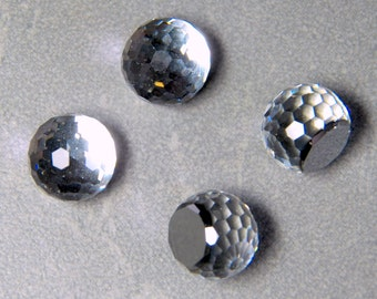 Vintage Swarovski Clear Crystal Fireball 10mm Faceted Round Glass Stones (2)