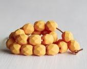 25 Matte Pumpkin 6mm Faceted Czech Glass Beads