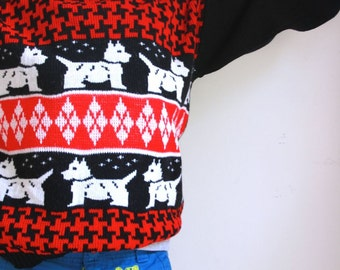 Vintage girls sweater scottie red and black size 8/10
