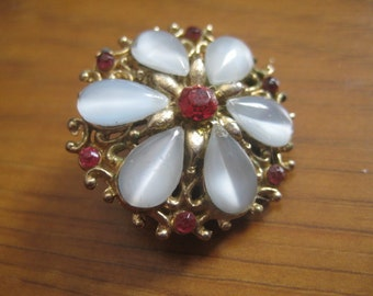Goldtone Floral Pin with Light Blue Moonstone Pear Rhinestones  and Ruby Stone