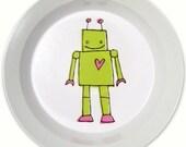 Robot Bowl - Green and Pink - BPA FREE