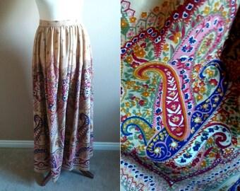 1960's Handmade Paisley Maxi Skirt