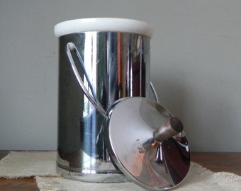 Vintage chrome and teak ice bucket - art deco atomic mid century style
