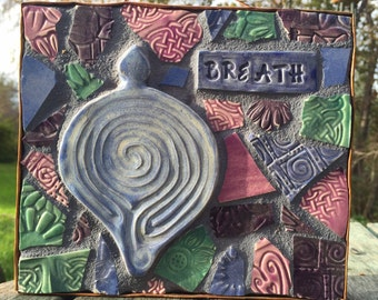 BREATH Labyrinth Garden Flower Herb Stake Affirmation  Mosaic