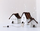 Hanging Houses Mobile,  Handmade Housewarming Gifts, white shades, brown roof, Art hanging decoration.