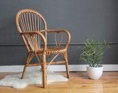 Franco Albini Style Italian Modern Rattan Chair