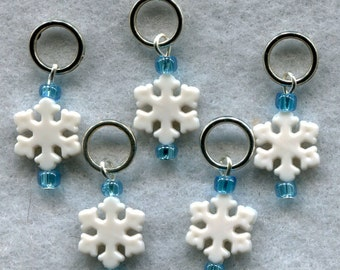 Snowflakes Knitting Stitch Markers White Snowflake Winter Ice Set of 5/SM136
