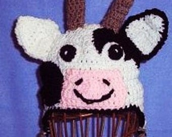 Crocheted Cow Hat, Baby Cow Hat, Animal Hat, Baby Photo Prop, Childs Cow Hat
