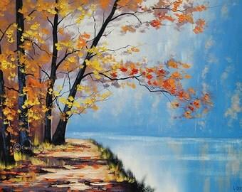 AUTUMN OIL PAINTING  fall trees River impressionism  Fine Art