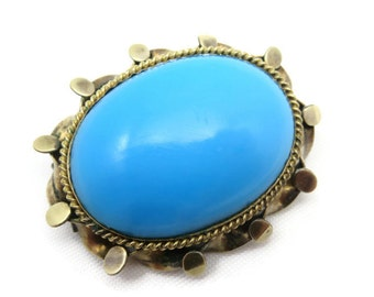 Victorian Brooch - Turquoise Glass Antique Brooch 1800s Jewelry