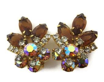 Vintage Rhinestone Earrings - Topaz and AB Rhinestone Clips Costume Jewelry