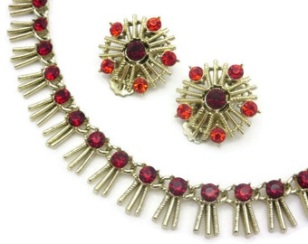 Red Rhinestone Fringe Necklace and Earring Set - Ruby Red, Costume Jewelry, Clip Earrings