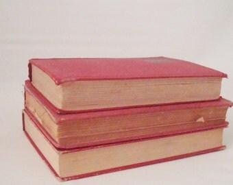Vintage Red Book Trio Home Decor Wedding Holiday