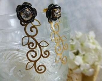 Floral Scroll Long Earrings -  Flower Studs Dangles - Convertible 2 in 1- Minimalist  Earrings - Weddings Bridesmaids