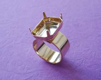 Gold Plated Adjustable Ring with 10mm Plain Band with 18x13mm Octagon Setting For Rhinestone Jewels or Cabs (1 piece)