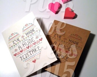 I've Made A Huge Mistake Greeting Card in WHITE or CRAFT