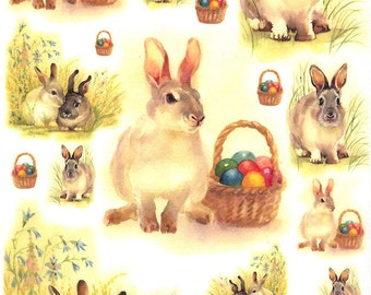 Made In Italy Rice Paper Decoupage Sheet Vintage Images Easter Rabbit Bunny Basket RCP-PA-17