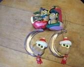 Owl Ornaments for Teacher Owl figurines Lot of 4 Owl Ornaments Christmas Ornaments