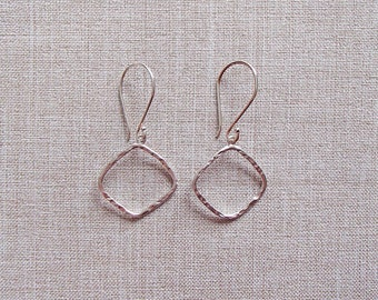 Matte Silver Hammered Square Earrings