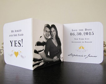 Save The Date For A Romantic Love Birds Wedding (in Oriole Yellow, Sepia and Ivory) Set of 30 - The Heath Collection