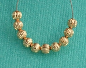 3.2MM 14k Gold Filled Engraved Pumpkin Spacer Beads (10)