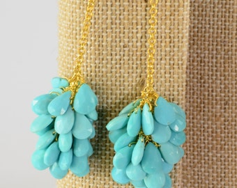 18K Vermeil Sleeping Beauty Turquoise Cluster Earrings