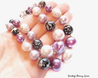 Vintage Bead Necklace, Glass Acrylic Pearl