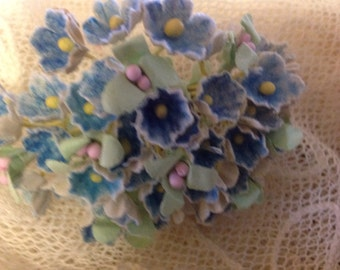 1 Bouquet Vintage  Flocked Millinery Flowers Forget Me Nots -  Blue- Hat Flowers - Doll Flowers - Easter Basket Flowers