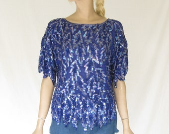 Vintage 80s Blue Silk and Sequin Glam Boho Blouse
